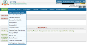 Click on 'My Account' – View Form 26AS (Tax Credit)